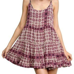 Brandy Melville Maroon-Pink Floral Jada Dress